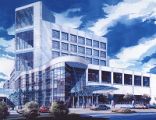 Architectural rendering of W. A. Monty and Tex Moncrief Radiation Oncology Building