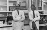 Daniel W. Foster, M.D., and John Denis McGarry, M.D., in laboratory, 1984