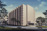 Architectural rendering of Cecil H. and Ida Green Biomedical Research Building viewed from west